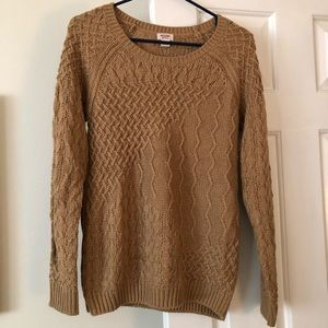 Tan cable knot sweater